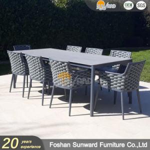 Patio de lujo en Jardín de ocio de la cuerda de poliéster aluminio Inicio Restaurante Hotel sillas y mesa de comedor Muebles de Patio