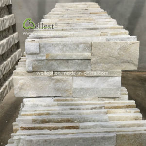 Split Face mur de pierres de quartz blanc beige de panneaux, carreaux Ledge 18x35cm