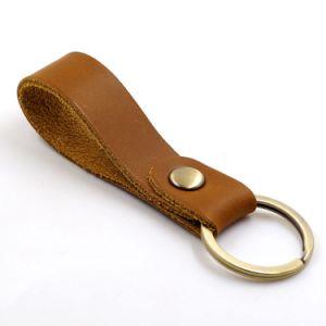 간단한 진짜 가죽 승진 공백 브라운 열쇠 고리 반지