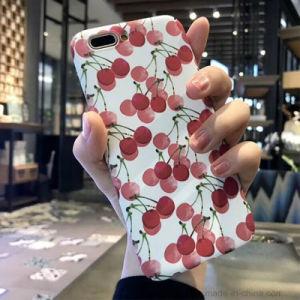 赤く白いiPhoneのためのフルーツによって塗られる携帯電話の箱