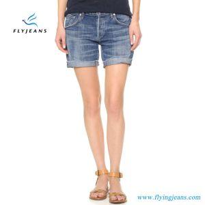 Più nuovi Shorts blu allentati del denim della lavata della scimmia ragazze/delle donne