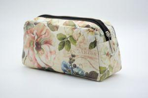 Fashion Sac cosmétique Fleurs et feuilles de voyage de l'impression femmes Sacs à fermeture à glissière femelle de maquillage Sac de cosmétiques composent Housse Etui de voyage
