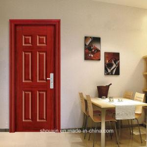 six portes du panneau de lintrieur de la chine fournisseur porte en bois dacier sh 042