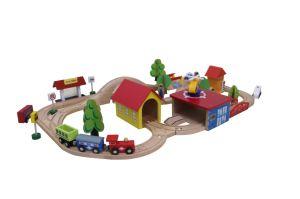 Prenda de Natal quente 69PCS CONJUNTO TREM DE PESCA DE MADEIRA brinquedo para crianças