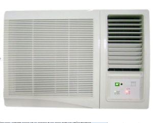 O condicionador de ar montado na janela