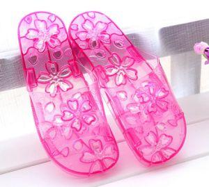 Fuite au niveau de l'eau anti-patinage fleur sandales de bain en plastique PVC plat