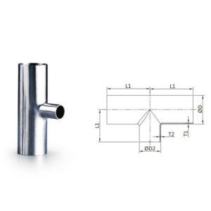 Medidas sanitarias de acero inoxidable SS304 SS316L tensa mucho la igualdad de los racores de tubo en T