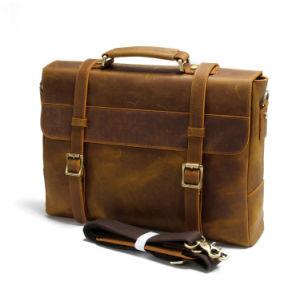 Messenger em pele castanha Vintage homens Saco para computador portátil maleta de couro