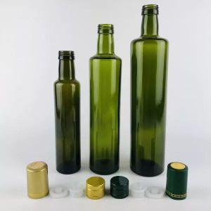 Ronda Cuadrada 250ml/500ml/750ml/1000ml frasco de vidrio de color verde del aceite de oliva