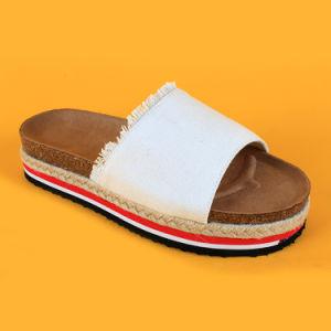 Newest Fashion toile espadrilles de causalité Flip Flops blanc