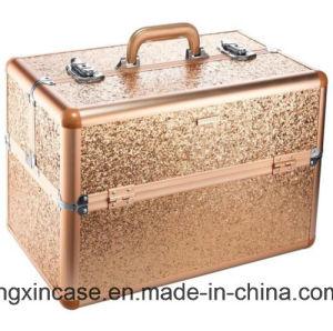 Sac de produit de beauté de cas d'organisateur de train de renivellement du scintillement XL d'or d'étincelle et d'éclat