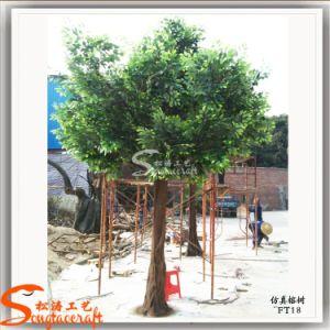 Decoração de Interiores Leavs Plástico Árvore Bnyan Artificial