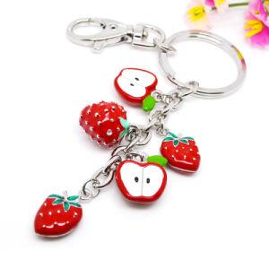 Fruit Keychain van de Aardbei van het Email van de Douane van de fabriek het Rode voor Levering voor doorverkoop