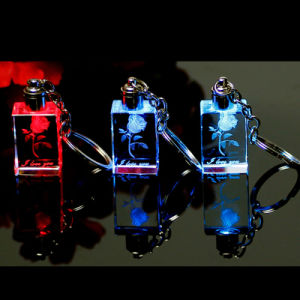 Anello portachiavi chiaro del LED del biglietto di S. Valentino di cristallo/Keychain/supporto chiave