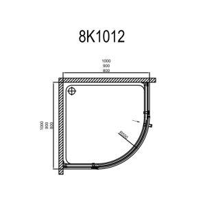 800*800 Chuveiro de alumínio sem caixilho Gabinete (8mm) com pega de aço inoxidável 304 8K1012