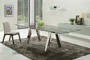 Moderner Hauptmöbel-ausgeglichenes Glas-Edelstahl-Speisetisch