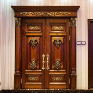 별장 (ST-1002)를 위한 단단한 아프리카 나무로 되는 문 정면 등록 양쪽으로 여닫는 문