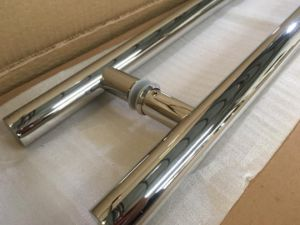 Полированная нержавеющая сталь двойные боковые потянуть за ручку двери из закаленного стекла