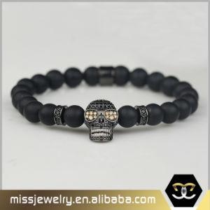 Gotischer Artmens-SchwarzesOnyx bördelt Handarmband mit den Edelstahl-Schädeln