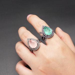 Gota de Agua de lujo de moda de joyería Electroplated anillo de diamantes anillo de metal negro Icestone anillo de cristal