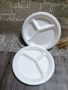 La bagasse de vaisselle jetable biodégradable assiette à dîner avec compartiments