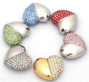 En forma de corazón de cristal de diamante de la unidad Flash USB.