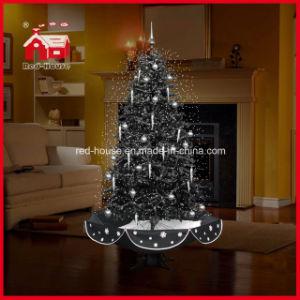 Árbol de Navidad negro nieve voladora con luces LED y música.