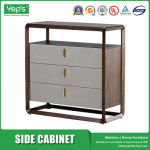 Do lado da estrutura em madeira de nogueira sólidos de madeira armário com 3 gavetas