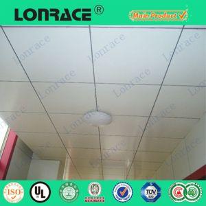 El panel de techo falso de la fibra mineral acústica