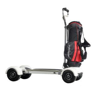 道のリリースボタンのゴルフスクーターをロックしている電気カートの自己を離れて