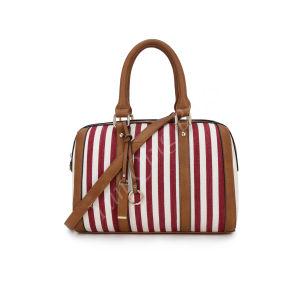 Righe verticali signora Handbags Manufacturer di Guangzhou del commercio all'ingrosso della borsa di modo della tela di canapa