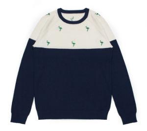 La moda suéter tejido bordado en cuello redondo camiseta para hombres