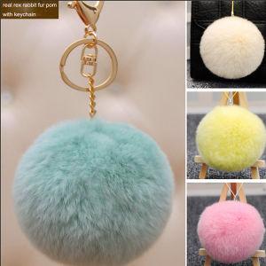 De kleurrijke Pompons Keychain van het Konijn/de Zeer belangrijke Ketting van de Bal van het Bont