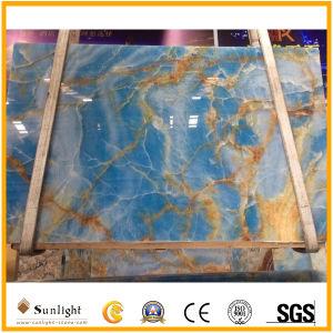 Lichtdurchlässiger natürlicher Himmel-Blauluxuxonyx für Wand-Fußboden