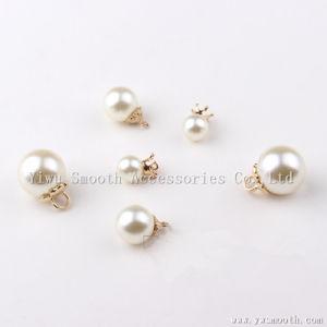 Mode perles rondes Faux rivet en plastique blanc perle broche Poignée de commande