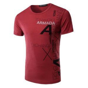 O algodão Single Jersey Homens da T-shirt do pescoço com rótulo personalizado
