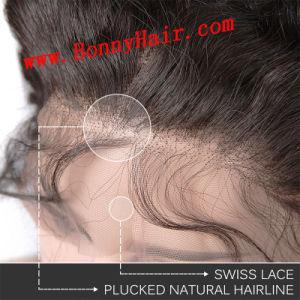 ハンドメイド赤ん坊の毛を搭載するインドのバージンの人間の毛髪360のFrontalのレースの閉鎖の深い波