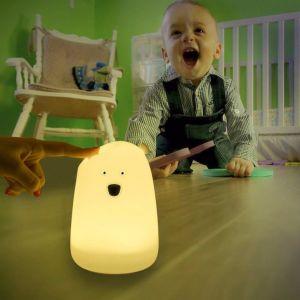 柔らかいシリコーンのシェルを持つ赤ん坊のためにPolychrome LEDの接触夜ライトを熱販売すること