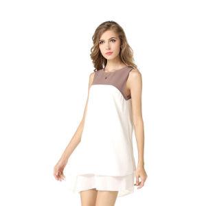 夏の二重層の軽くて柔らかく不規則な袖なしの服