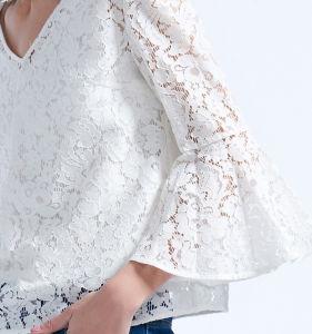 Elegante sexy camisola pescoço V mangas da Buzina Solta Lace Camiseiros