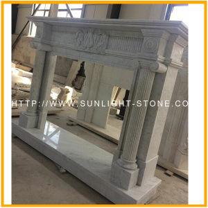 De gesneden Witte Afdekplaat van de Open haard van de Steen van Carrara Marmeren