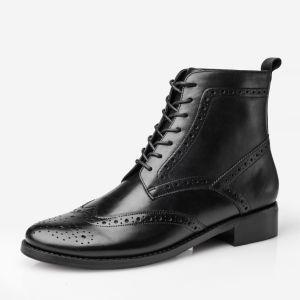 La moda de cuero auténtico Calfskin Chelsea botas para mujer