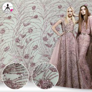 Manier het Franse Stof Geborduurde Kant van Dame Party Tulle Glitter Sequins Borduurwerk