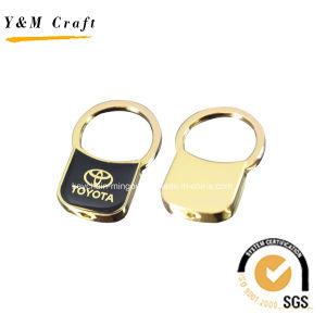 Acabamento ouro puxe a etiqueta de tecla com logotipo de epóxi impresso YM1012