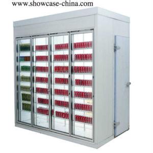 Glastür-Schaukasten-Rückseiten-Standplatz-Kühlraum des Schweisses geben frei