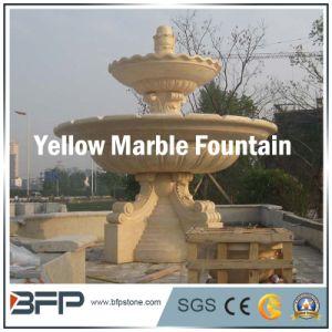 De beige/Gele Marmeren Hand Gesneden Fontein van het Water van de Steen