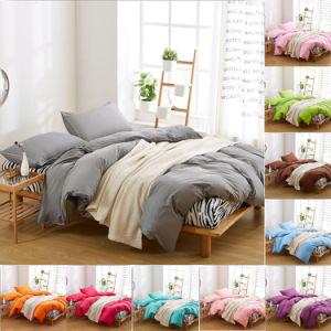 安い固体Microfiberポリエステルファブリック敷布の羽毛布団カバー寝具セット