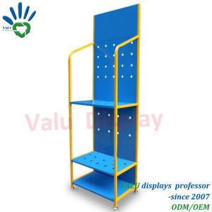 3 Reihe-Metallausstellungsstand für schmierende Fußboden-Brennölzahnstange mit Rädern und Zeichen-Metallschmieröl-Bildschirmanzeige-Regal