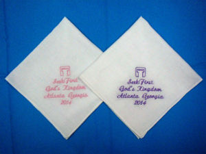 Tissu de coton blanc ordinaire le linge de maison de la broderie mouchoir de mariage