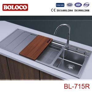 Kitch évier en acier inoxydable/bassin (R20-Angle, double bols avec carte de vidange) 1160*500mm BL-715L